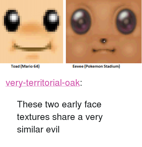 """textures: Toad Mario 64  Eevee (Pokemon Stadium) <p><a href=""""http://very-territorial-oak.tumblr.com/post/168775988525/these-two-early-face-textures-share-a-very-similar"""" class=""""tumblr_blog"""">very-territorial-oak</a>:</p><blockquote><p>These two early face textures share a very similar evil</p></blockquote>"""