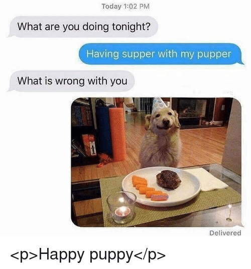 Happy, Puppy, and Today: Today 1:02 PM  What are you doing tonight?  Having supper with my pupper  What is wrong with you  Delivered <p>Happy puppy</p>