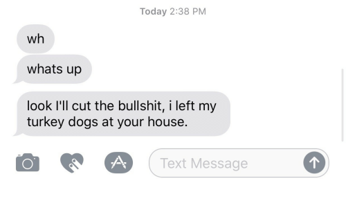 Cut The Bullshit: Today 2:38 PM  wh  whats up  look I'll cut the bullshit, i left my  turkey dogs at your house.  O  (Text Message