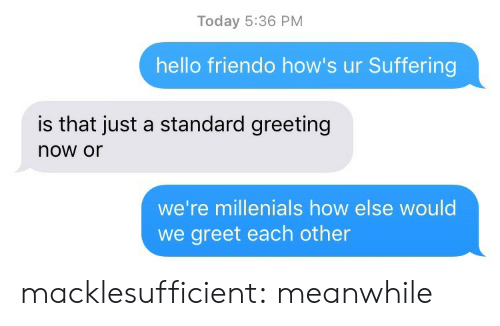 millenials: Today 5:36 PM  hello friendo how's ur Suffering  is that just a standard greeting  now or  we're millenials how else would  we greet each other macklesufficient:  meanwhile