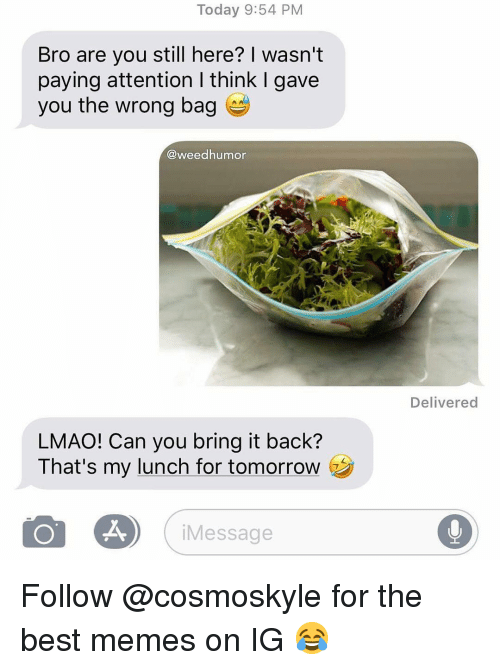 Lmao, Memes, and Weed: Today 9:54 PM  Bro are you still here? I wasn't  paying attention I think I gave  you the wrong bag  @weedhumor  Delivered  LMAO! Can you bring it back?  That's my lunch for tomorrow  iMessage Follow @cosmoskyle for the best memes on IG 😂