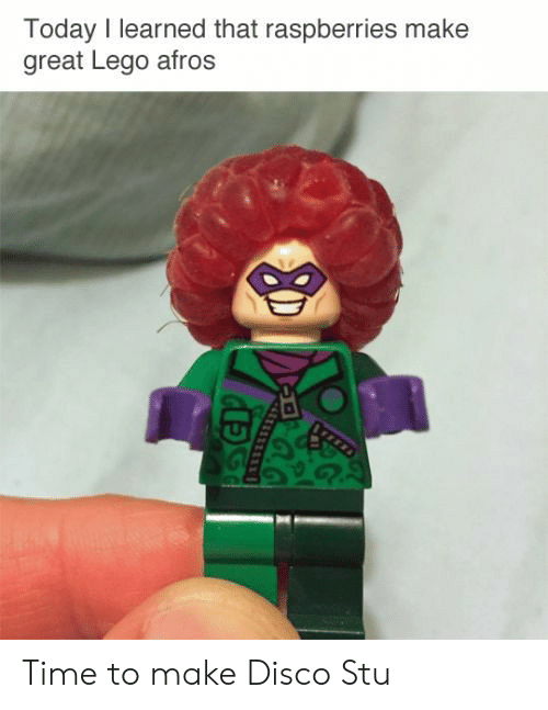Lego, Time, and Today: Today I learned that raspberries make  great Lego afros Time to make Disco Stu