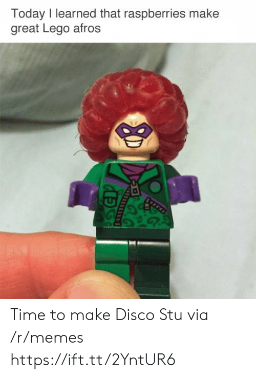 Lego, Memes, and Time: Today I learned that raspberries make  great Lego afros Time to make Disco Stu via /r/memes https://ift.tt/2YntUR6