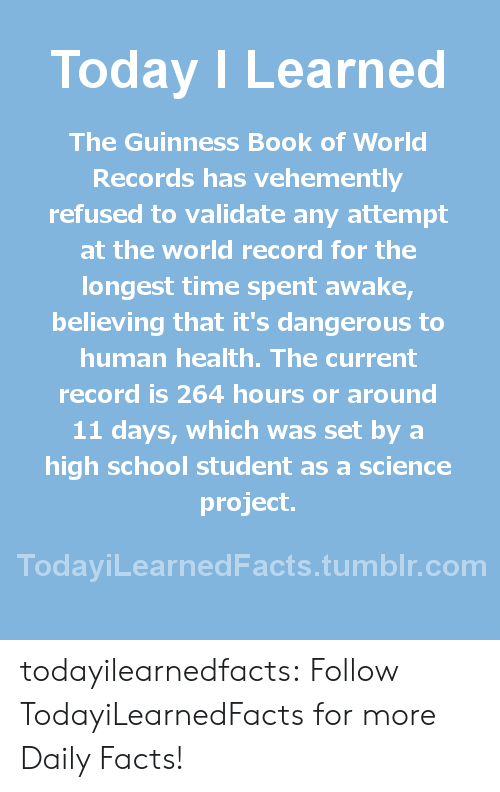 Facts, School, and Tumblr: Today ILearned  The Guinness Book of World  Records has vehemently  refused to validate any attempt  at the world record for the  longest time spent awake  believing that it's dangerous to  human health. The current  record is 264 hours or around  11 days, which was set by a  high school student as a science  project.  TodayiLearnedFacts.tumblr.com todayilearnedfacts: Follow TodayiLearnedFacts for more Daily Facts!