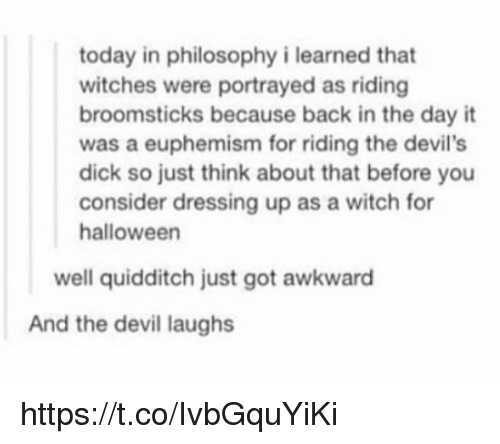 Euphemism: today in philosophy i learned that  witches were portrayed as riding  broomsticks because back in the day it  was a euphemism for riding the devil's  dick so just think about that before you  consider dressing up as a witch for  halloween  well quidditch just got awkward  And the devil laughs https://t.co/IvbGquYiKi