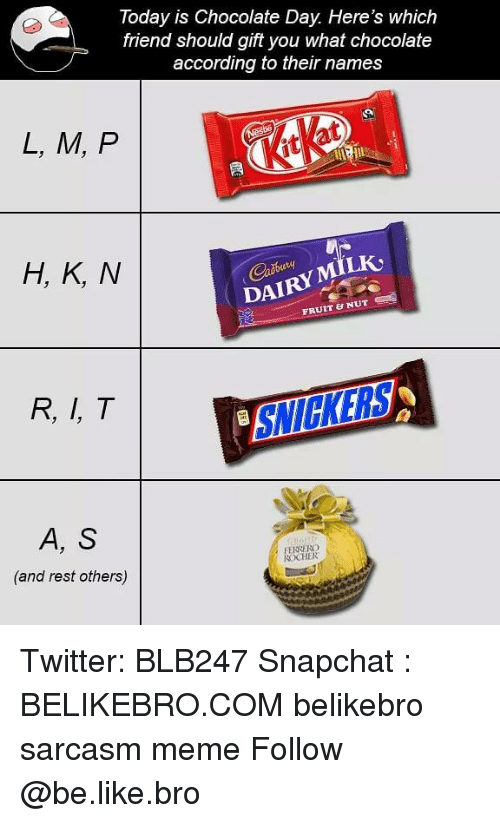 Chocolate Day: Today is Chocolate Day. Here's which  friend should gift you what chocolate  according to their names  L, M, P  it  H, K, N  DAIRYMILK  FRUIT & NUT  R, I, T  SNICKERS  A, S  (and rest others)  FENRERG  CHER Twitter: BLB247 Snapchat : BELIKEBRO.COM belikebro sarcasm meme Follow @be.like.bro
