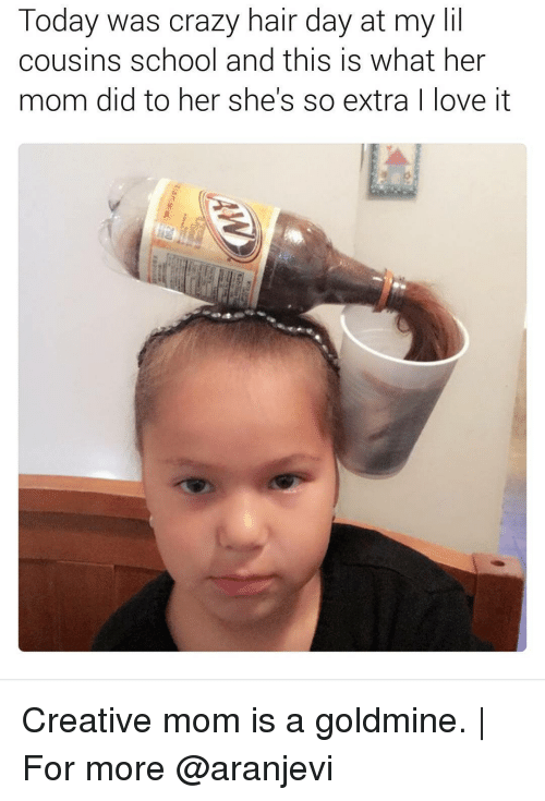 Creativer: Today was crazy hair day at my lil  cousins school and this is what her  mom did to her she's so extra  ove it Creative mom is a goldmine. | For more @aranjevi