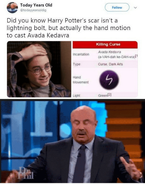 motion: Today Years Old  @todayyearsoldig  Follow  Did you know Harry Potter's scar isn't a  lightning bolt, but actually the hand motion  to cast Avada Kedavra  Killing Curse  Avada Kedavra  Incantation  (a-VAH-dah ke-DAH-vra)l1  Type  Curse, Dark Arts  Hand  Movement  Light  Green121  PRI