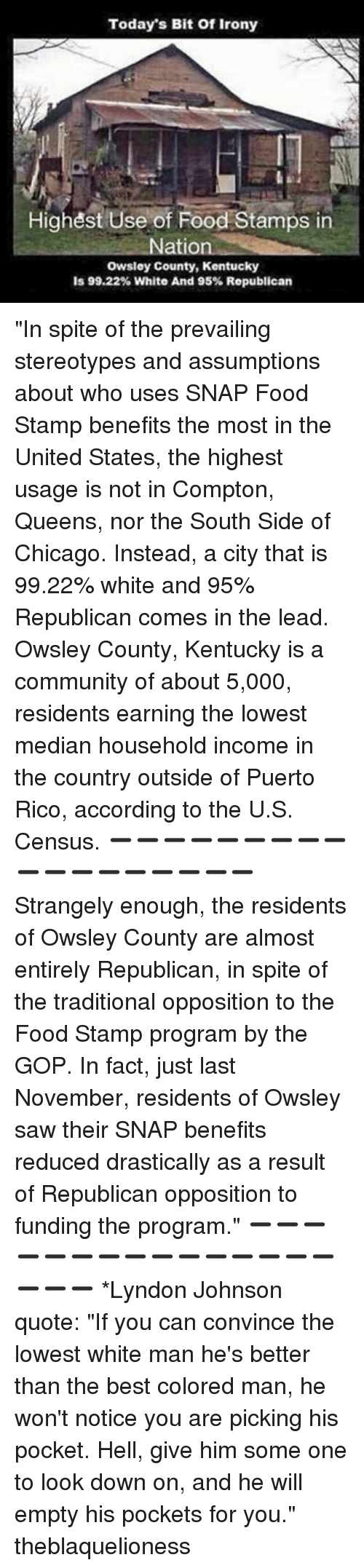 """median: Today's Bit of Irony  Highest Use of Food Stamps in  Nation  owsley County, Kentucky  is 99.22% White And 95% Republican """"In spite of the prevailing stereotypes and assumptions about who uses SNAP Food Stamp benefits the most in the United States, the highest usage is not in Compton, Queens, nor the South Side of Chicago. Instead, a city that is 99.22% white and 95% Republican comes in the lead. Owsley County, Kentucky is a community of about 5,000, residents earning the lowest median household income in the country outside of Puerto Rico, according to the U.S. Census. ➖➖➖➖➖➖➖➖➖➖➖➖➖➖➖➖➖➖ Strangely enough, the residents of Owsley County are almost entirely Republican, in spite of the traditional opposition to the Food Stamp program by the GOP. In fact, just last November, residents of Owsley saw their SNAP benefits reduced drastically as a result of Republican opposition to funding the program."""" ➖➖➖➖➖➖➖➖➖➖➖➖➖➖➖➖➖➖ *Lyndon Johnson quote: """"If you can convince the lowest white man he's better than the best colored man, he won't notice you are picking his pocket. Hell, give him some one to look down on, and he will empty his pockets for you."""" theblaquelioness"""