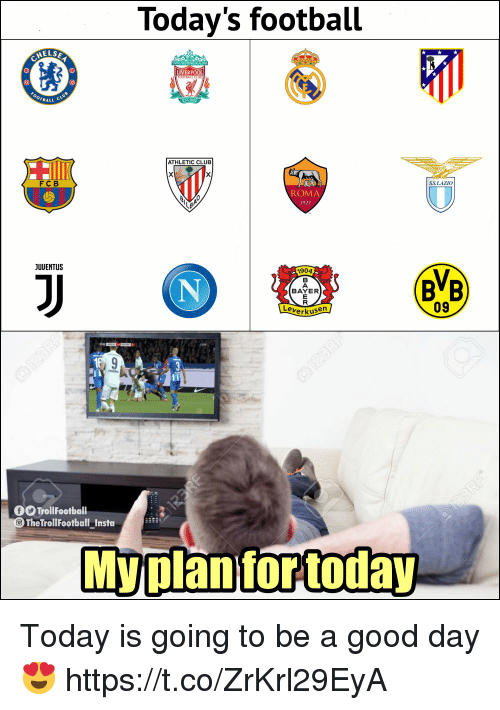 Planful: Today's football  LIVERPOOL  BALL  ATHLETIC CLUB  FC B  SSLAZIO  ROMA  1927  JUUENTUS  1904  BVB  BAYER  09  erkusen  O TrollFootbal  TheTrollFootball Insta  My plan for today Today is going to be a good day 😍 https://t.co/ZrKrl29EyA