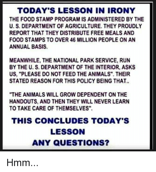 """Animals, Food, and Memes: TODAY'S LESSON IN IRONY  THE FOOD STAMP PROGRAM IS ADMINISTERED BY THE  U. S. DEPARTMENT OF AGRICULTURE. THEY PROUDLY  REPORT THAT THEY DISTRIBUTE FREE MEALS AND  FOOD STAMPS TO OVER 46 MILLION PEOPLE ON AN  ANNUAL BASIS.  MEANWHILE, THE NATIONAL PARK SERVICE, RUN  BY THE U. S. DEPARTMENT OF THE INTERIOR, ASKS  US, """"PLEASE DO NOT FEED THE ANIMALS"""". THEIR  STATED REASON FOR THIS POLICY BEING THAT.  """"THE ANIMALS WILL GROW DEPENDENT ON THE  HANDOUTS, AND THEN THEY WILL NEVER LEARN  TO TAKE CARE OF THEMSELVES""""  THIS CONCLUDES TODAY'S  LESSON  ANY QUESTIONS? Hmm..."""