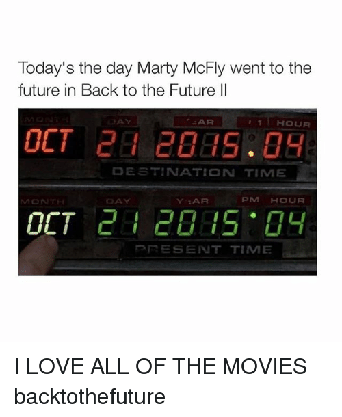 Marty McFly: Today's the day Marty McFly went to the  future in Back to the Future ll  AR  HOUR  DESTINATION TIME  PM HOUR  DAY  Y AR  MONTH  OCT  RE SENT TIME I LOVE ALL OF THE MOVIES backtothefuture