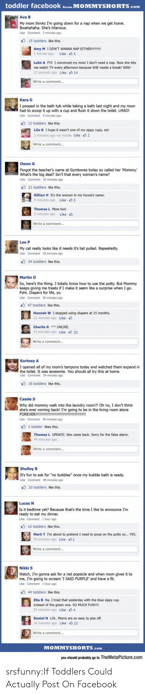 "Being Alone, Charlie, and Facebook: toddler facebook from MOMMYSHORTS.com  Ava B  My mom thinks I'm going down for a nap when we get home.  Bwahahaha. She's hilarious.  Like Comment 2 minutes ago  15 toddlers like this.  1 minute ago Like 3  Luke A FYI- I convinced my mom I don't need a nap. Now she lets  me watch TV every afternoon because SHE needs a break! WIN  23 seconds ago Like 14  Write a comment...  Kara G  I pooped in the bath tub while taking a bath last night and my mom  had to scoop it up with a cup and flush it down the toilet. LMAO!  Like Comment 4 minutes ago  12 toddlers like this  Lila G I hope it wasn't one of my sippy cups, sis!  3 minutes ago via mobile Like s 2  Write a comment...  Owen G  Forgot the teacher's name at Gymboree today so called her Mommy.  What's the big deal? Isn't that every woman's name?  Like Comment 10 minutes ago  21 toddlers like this.  Gillian H It's the woman in my house's name.  9 minutes ago Like 5  Thomas L Mine too!  5 minutes ago Like.  Write a comment...  Lee P  My cat really looks like it needs it's tail pulled. Repeatedly.  Like Comment 18 minutes ago  34 toddlers like this.  Martin D  So, here's the thing. I totally know how to use the potty. But Mommy  keeps giving me treats if I make it seem like a surprise when I go.  Psht. Diapers for life, yo.  Like Comment 30 minutes ago  47 toddlers like this.  Hannah W I stopped using diapers at 15 months.  22 minutes ago Like  Charlie G UNLIKE  15 minutes ago Like 32  Write a comment..  KortneyA  I opened all of my mom's tampons today and watched them expand in  the toilet. It was awesome. You should all try this at home.  Like Comment 34 minutes ago  16 toddlers like this.  Cassie S  Why did mommy walk into the laundry room?! Oh no, I don't think  she's ever coming back! I'm going to be in the living room alone  Like Comment 45 minutes ago  1 toddler likes this.  Thomas L UPDATE: She came back. Sorry for the false alarm.  44 minutes ago  Write a comment...  Shelley B  It's fun to ask for ""no bubbles"" once my bubble bath is ready.  Like Comment 48 minutes ago  33 toddlers like this.  Lucas N  Is it bedtime yet? Because that's the time I like to announce I'm  ready to eat my dinner  Like Comment 1 hour ago  10 toddlers like this.  Mark T I'm about to pretend I need to poop on the potty so... YES.  50 minutes ago Like 1  Write a comment...  Nikki S  Watch, I'm gonna ask for a red popsicle and when mom gives it to  me, I'm going to scream 'I SAID PURPLE' and have a fit.  Like Comment 1 hour ago  44 toddlers like this.  Ella B Ha. I tried that yesterday with the blue sippy cup  instead of the green one. SO MUCH FUN!!!!  54 minutes ago Like 4  Daniel N LOL. Moms are so easy to piss off  24 minutes ago Like- 23  Write a comment...  MOMMYSHORTS.com  you should probably go to TheMetaPicture.com srsfunny:If Toddlers Could Actually Post On Facebook"