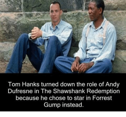 Tom Hank: Tom Hanks turned down the role of Andy  Dufresne in The Shawshank Redemption  because he chose to star in Forrest  Gump instead.