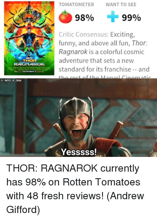 Rotten Tomatoes: TOMATOMETERWANT TO SEE  98%  99%  Critic Consensus: Exciting,  funny, and above all fun, Thor:  Ragnarok is a colorful cosmic  adventure that sets a new  standard for its franchise-and  THOR  RAGNAROK  E MARVEL D SOUAD  Yesssss! THOR: RAGNAROK currently has 98% on Rotten Tomatoes with 48 fresh reviews!  (Andrew Gifford)