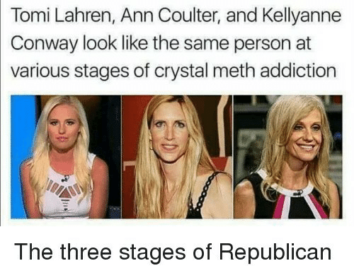 ann: Tomi Lahren, Ann Coulter, and Kellyanne  Conway look like the same person at  various stages of crystal meth addiction  The three stages of Republicarn