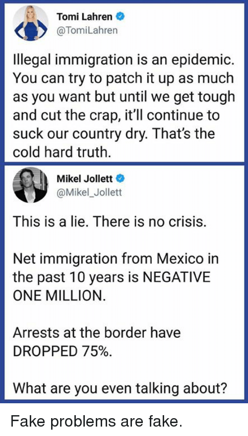 Fake, Memes, and Immigration: Tomi Lahren  @TomiLahren  Ilegal immigration is an epidemic.  You can try to patch it up as much  as you want but until we get tough  and cut the crap, it'll continue to  suck our country dry. That's the  cold hard truth  Mikel Jollett  @Mikel_Jollett  This is a lie, There is no crisis  Net immigration from Mexico in  the past 10 years is NEGATIVE  ONE MILLION.  Arrests at the border have  DROPPED 75%.  What are you even talking about? Fake problems are fake.