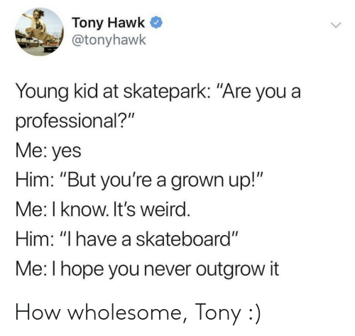 "Skateboarding, Tony Hawk, and Weird: Tony Hawk  @tonyhawk  Young kid at skatepark: ""Are you a  professional?""  Me: yes  Him: ""But you're a grown up!""  Me: I know. It's weird  Him: ""I have a skateboard""  Me: l hope you never outgrow it How wholesome, Tony :)"