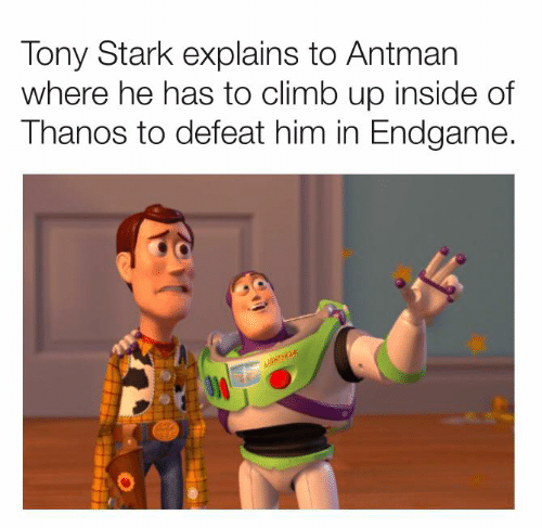 Dank, Antman, and Thanos: Tony Stark explains to Antman  where he has to climb up inside of  Thanos to defeat him in Endgame.