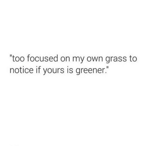 """Grass, Own, and On My Own: """"too focused on my own grass to  notice if yours is greener."""""""
