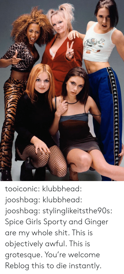 Spice Girls: tooiconic:  klubbhead:   jooshbag:  klubbhead:   jooshbag:  stylinglikeitsthe90s: Spice Girls  Sporty and Ginger are my whole shit.     This is objectively awful. This is grotesque.   You're welcome   Reblog this to die instantly.