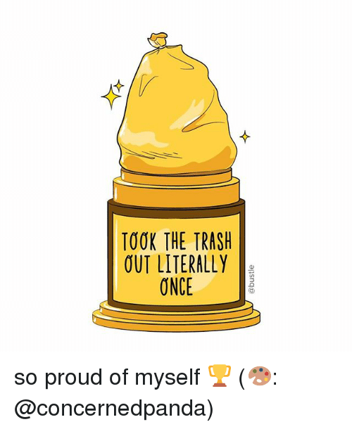 Memes, Trash, and Proud: TOOK THE TRASH  OUT LITERALLY  ONCE so proud of myself 🏆 (🎨: @concernedpanda)