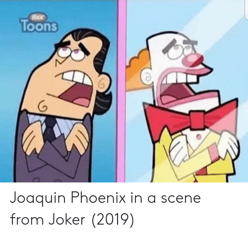 Joker, Phoenix, and Joaquin Phoenix: Toons  (o Joaquin Phoenix in a scene from Joker (2019)