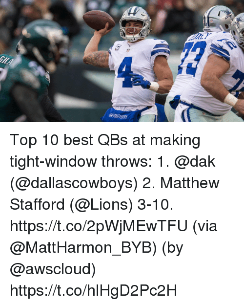 Memes, Best, and Lions: Top 10 best QBs at making tight-window throws:  1. @dak (@dallascowboys) 2. Matthew Stafford (@Lions) 3-10. https://t.co/2pWjMEwTFU (via @MattHarmon_BYB) (by @awscloud) https://t.co/hlHgD2Pc2H