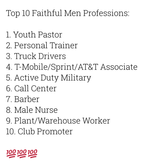 Barber, Club, and T-Mobile: Top 10 Faithful Men Professions:  1. Youth Pastor  2. Personal Trainer  3. Truck Drivers  4. T-Mobile/Sprint/AT&T Associate  5. Active Duty Military  6. Call Center  7. Barber  8. Male Nurse  9. Plant/Warehouse Worker  10. Club Promoter 💯💯💯