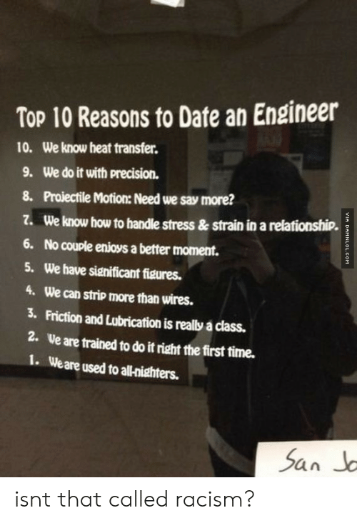Say More: Top 10 Reasons to Date an Engineer  10.  We know heat transfer.  9. We do it with precision.  8. Proiectile Motion: Need we say more?  Z. We know how to handle stress & strain in a relationship.  6. No couple enioys a better moment.  5. We have significant figures.  4. We can strip more than wires.  3. Friction and Lubrication is really a class.  2.  Ve are trained to do it right the first time.  1. Weare used to all-nighters. isnt that called racism?