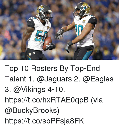 Philadelphia Eagles, Memes, and Vikings: Top 10 Rosters By Top-End Talent  1. @Jaguars 2. @Eagles 3. @Vikings 4-10. https://t.co/hxRTAE0qpB (via @BuckyBrooks) https://t.co/spPFsja8FK