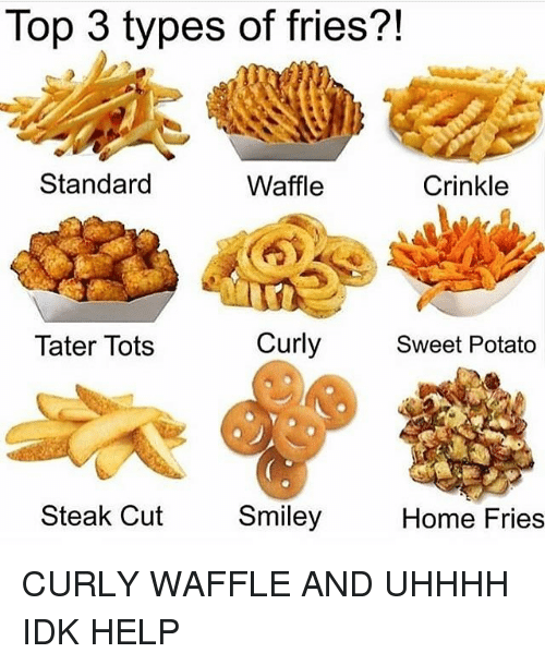 Memes, Help, and Home: Top 3 types of fries?!  Standard  Waffle  Crinkle  Tater Tots  Curly  Sweet Potato  Steak Cut  Smiley  Home Fries CURLY WAFFLE AND UHHHH IDK HELP