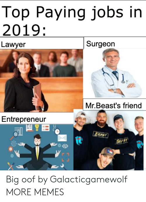 Entrepreneur: Top Paying jobs in  2019:  Surgeon  Lawyer  Mr.Beast's friend  Entrepreneur  EEAST  SE S1  4i> Big oof by Galacticgamewolf MORE MEMES