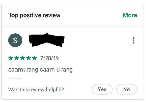 Yes, Top, and Review: Top positive review  More  7/28/19  saamurang saam u rang  Was this review helpful?  Yes  No