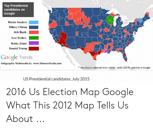 Top Presidential Candidates On Google Bernie Sanders Hillary Clinton - Google-us-election-map