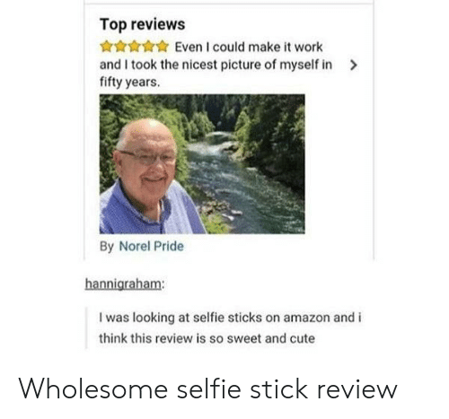 Reviews: Top reviews  Even I could make it work  and I took the nicest picture of myself in  fifty years.  By Norel Pride  hannigraham:  I was looking at selfie sticks on amazon and i  think this review is so sweet and cute Wholesome selfie stick review