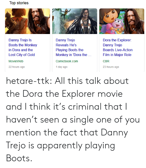Apparently, Danny Trejo, and Dora the Explorer: Top stories  Danny Trejo Is  Boots the Monkey  in Dora and the  Lost City of Gold  MovieWeb  22 hours ago  Danny Trejo  Reveals He's  Playing Boots the  Monkey in 'Dora the  Comicbook.com  1 day ago  Dora the Explorer:  Danny Trejo  Boards Live-Action  Film in Major Role  CBR  23 hours ago hetare-ttk: All this talk about the Dora the Explorer movie and I think it's  criminal that I haven't seen a single one of you mention the fact that  Danny Trejo is apparently playing Boots.