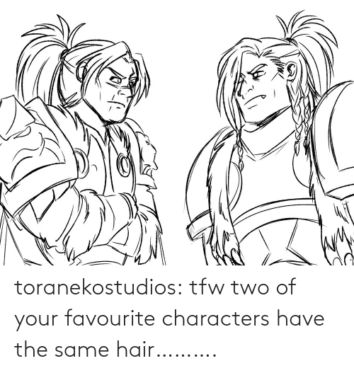 TFW: toranekostudios:  tfw two of your favourite characters have the same hair……….