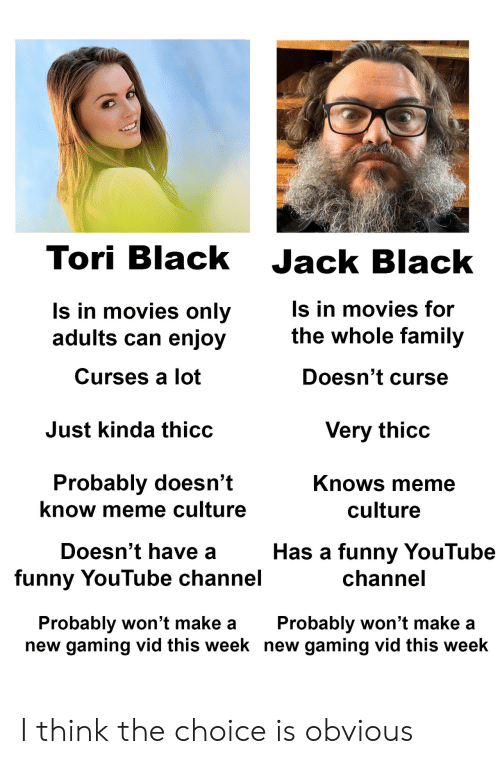 Tori: Tori Black Jack Black  ls in movies only  adults can enjoy  Curses a lot  s in movies for  the whole family  Doesn't curse  Just kinda thicc  Very thicc  Probably doesn't  know meme culture  Knows meme  culture  Doesn't have a  funny YouTube channel  Has a funny YouTube  channe  Probably won't make aProbably won't make a  new gaming vid this week new gaming vid this week I think the choice is obvious
