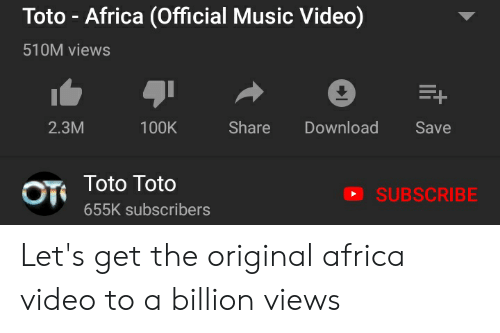 Toto - Africa Official Music Video 510M Views Share Download Save