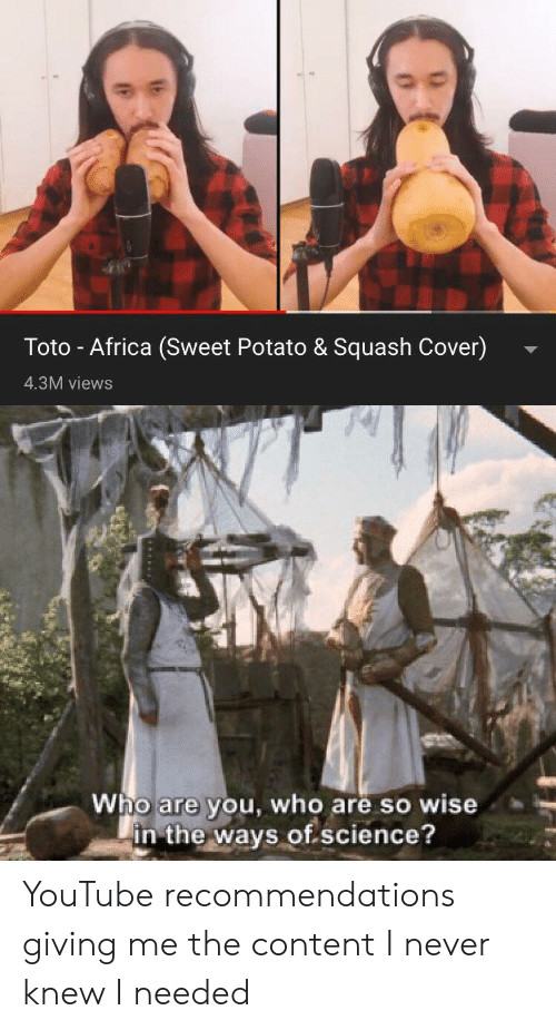 Toto - Africa Sweet Potato & Squash Cover 43M Views Are in the Ways