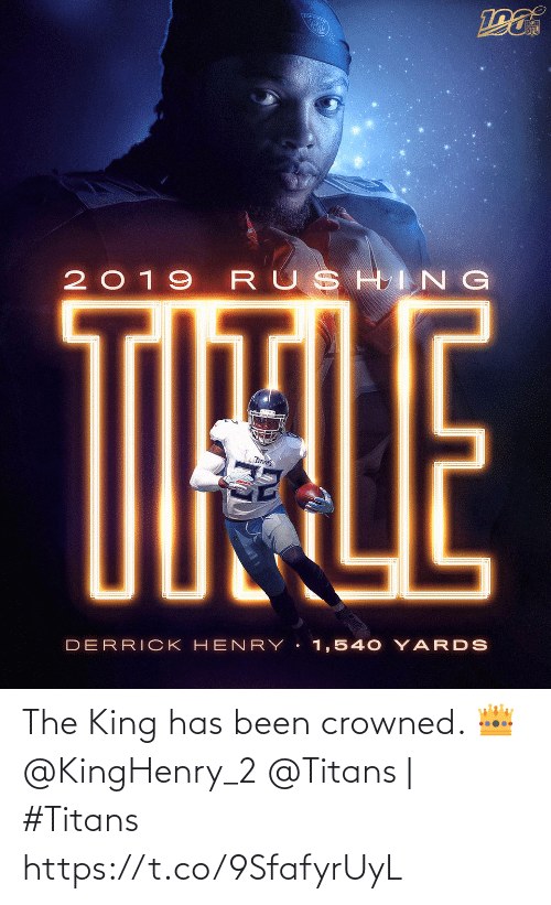rushing: TOU  NFL  2019 RUSHING  TIHALE  TITANS  DERRICK HEN RY 1,540 YARDS The King has been crowned. 👑 @KingHenry_2  @Titans | #Titans https://t.co/9SfafyrUyL