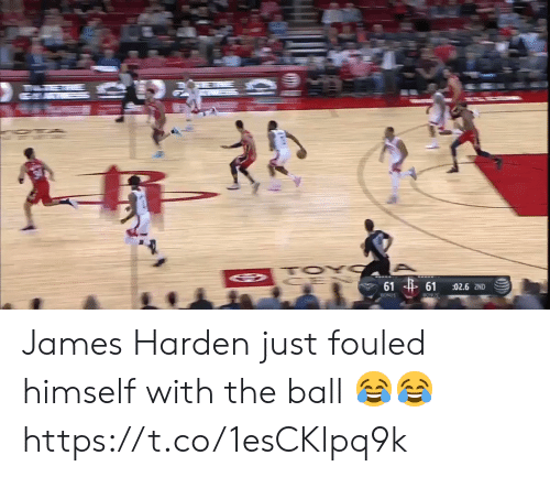 harden: TOY  61 61  02.6 2ND  BONUS  BONUS James Harden just fouled himself with the ball 😂😂 https://t.co/1esCKlpq9k