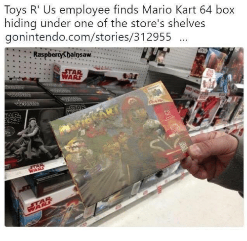 Funny, Mario Kart, and Star Wars: Toys R' Us employee finds Mario Kart 64 box  hiding under one of the store's shelves  gonintendo.com/stories/312955  Ras  pberryCbainsaw  STAR  WARS