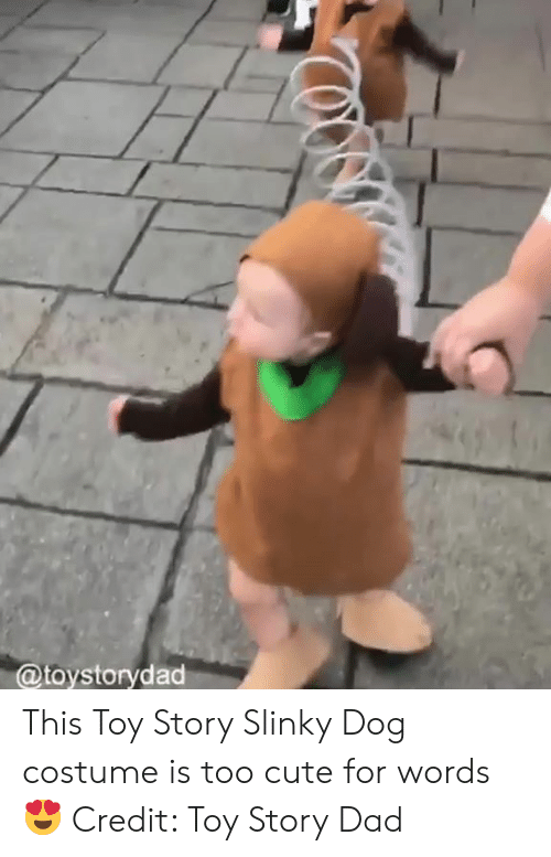 Cute, Dad, and Toy Story: @toystorydad This Toy Story Slinky Dog costume is too cute for words 😍  Credit: Toy Story Dad