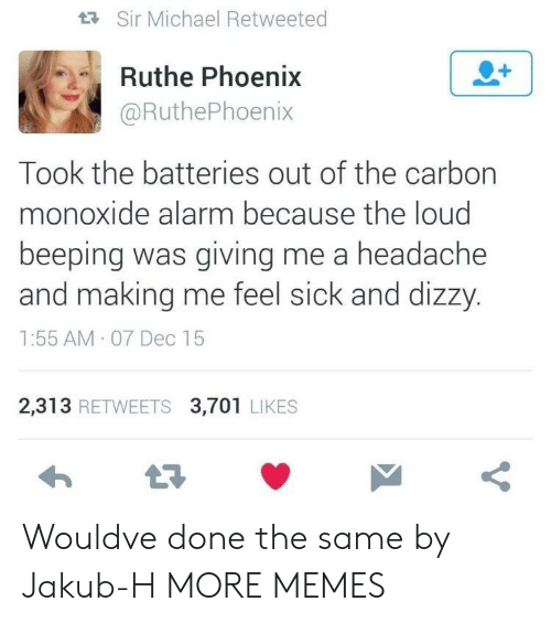Dank, Memes, and Target: tR Sir Michael Retweeted  Ruthe Phoenix  @RuthePhoenix  Took the batteries out of the carbon  monoxide alarm because the loud  beeping was giving me a headache  and making me feel sick and dizzy  1:55 AM 07 Dec 15  2,313 RETWEETS 3,701 LIKES Wouldve done the same by Jakub-H MORE MEMES