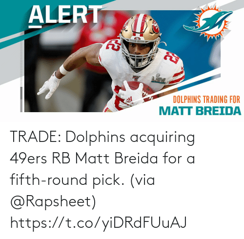 San Francisco 49ers: TRADE: Dolphins acquiring 49ers RB Matt Breida for a fifth-round pick. (via @Rapsheet) https://t.co/yiDRdFUuAJ