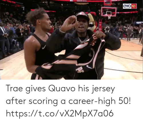 Gives: Trae gives Quavo his jersey after scoring a career-high 50!  https://t.co/vX2MpX7a06