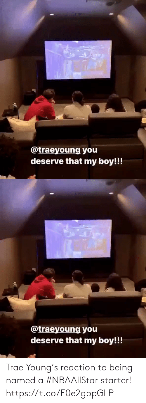 starter: Trae Young's reaction to being named a #NBAAllStar starter!  https://t.co/E0e2gbpGLP