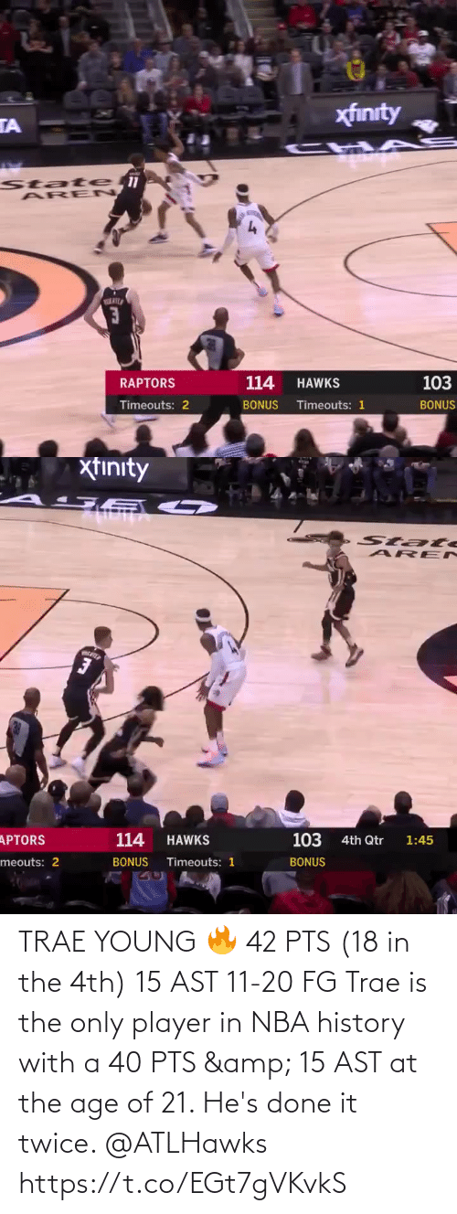History: TRAE YOUNG 🔥  42 PTS (18 in the 4th) 15 AST 11-20 FG  Trae is the only player in NBA history with a 40 PTS & 15 AST at the age of 21. He's done it twice. @ATLHawks   https://t.co/EGt7gVKvkS